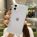 Shockproof Armor Transparent Phone Case For iPhone 12 11 Pro X Xs MAX XR 6 6s 7 8 Plus Camera Protection Candy Color Cover Case