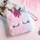 Cute Unicorn Children's Fanny Pack Girls Waist Bag Plush Toys Belt Gradient Color Chest Bag Cartoon Coin Purse Travel Chest Bag