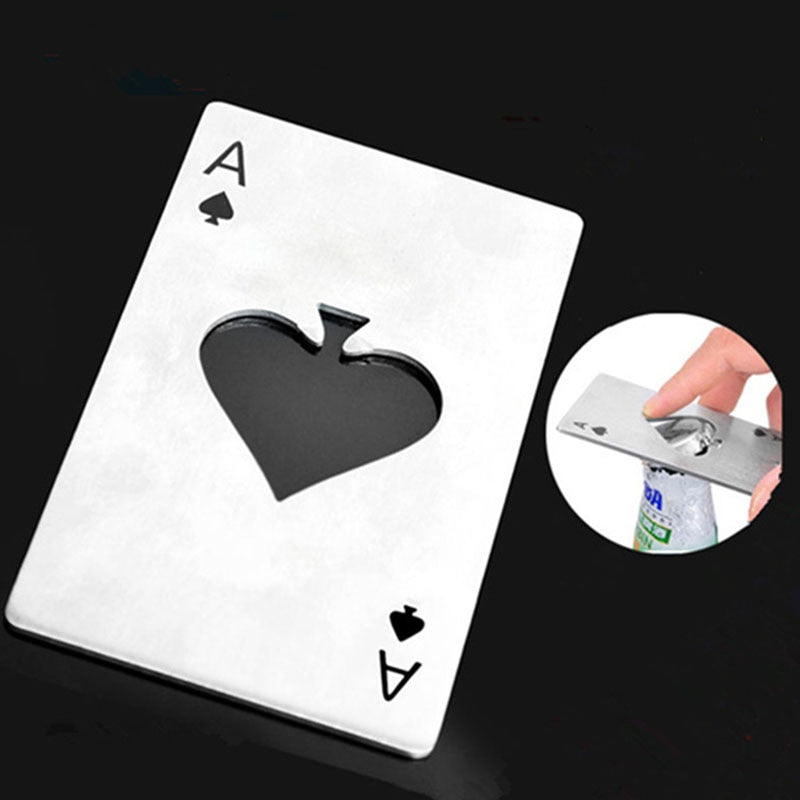 Portable Stainless Steel Poker Playing Card Bottle Opener