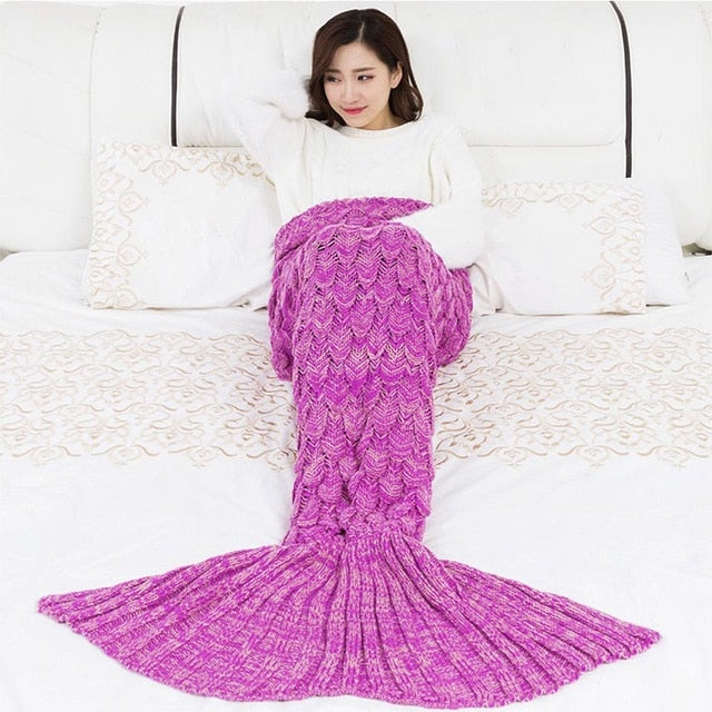 ISINOTEX Soft Knitted Mermaid Tail Blanket Crochet Handmade Sleeping Bag for Kids Adult Best Birthday Christmas Gift