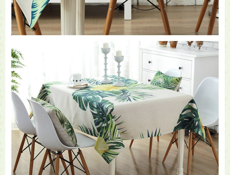 Green Rectangle Polyester Tablecloth for Kitchen