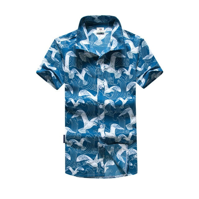 Mens Hawaiian Shirt Male Casual camisa masculina  Printed Beach Shirts Short Sleeve brand clothing Free Shipping Asian Size 5XL