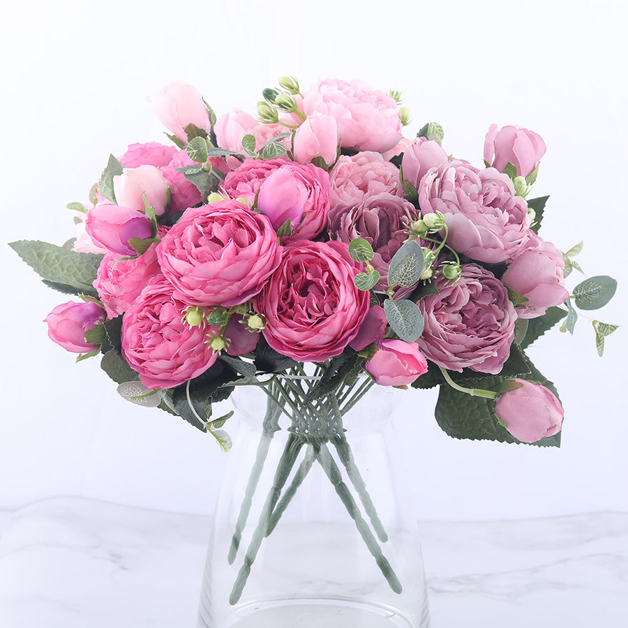 30cm Rose Pink Silk Peony Artificial Flowers Bouquet 5 Big Head and 4 Bud Cheap Fake Flowers for Home Wedding Decoration indoor