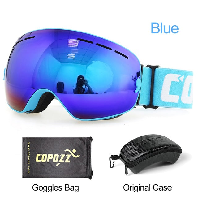 COPOZZ Brand Ski Goggles Men Women Snowboard Goggles Glasses for Skiing UV400 Protection Snow Skiing Glasses Anti-fog Ski Mask