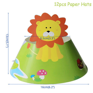 Jungle Animal Party Monkey Lion Foil Balloon Safari Birthday Party Decoration Kids Disposable Tableware Cake Toppers Baby Shower