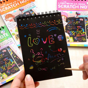 New Colorful Paper DIY Kids Educational Toys Fun Doodling Scratch Children Graffiti Colorful Black Wood Stick kids crafts -20