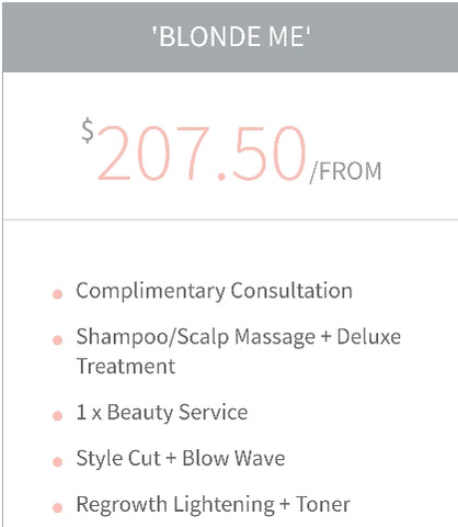 """Blonde Me"" Colour service bundle Package Voucher"