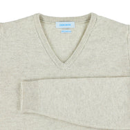 "Woman lambswool V neck ""Linen"""