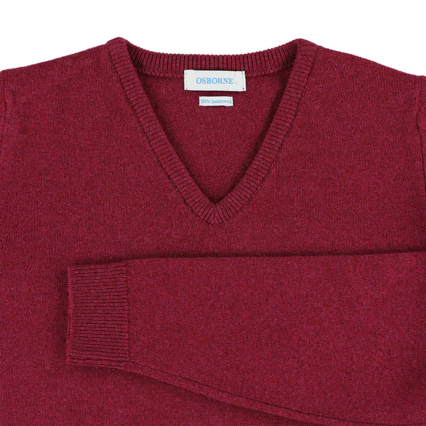 "Woman lambswool V neck ""Rosehip"""