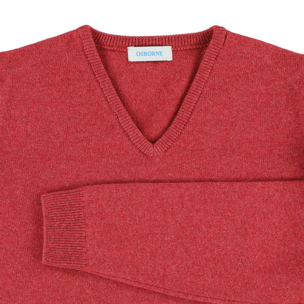 "Woman lambswool V neck ""Rouge"""