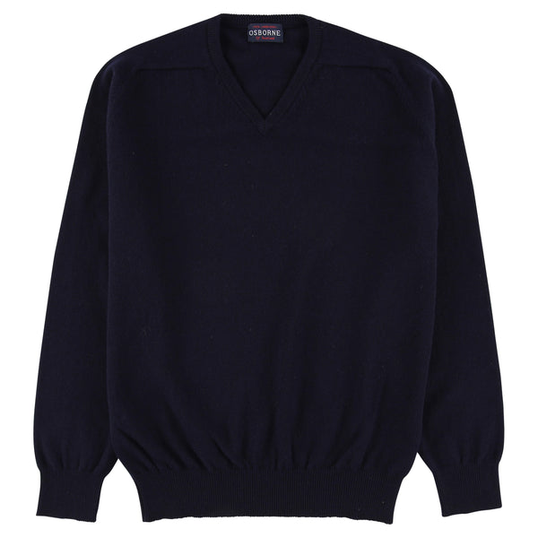 "Lambswool V neck ""Navy"""