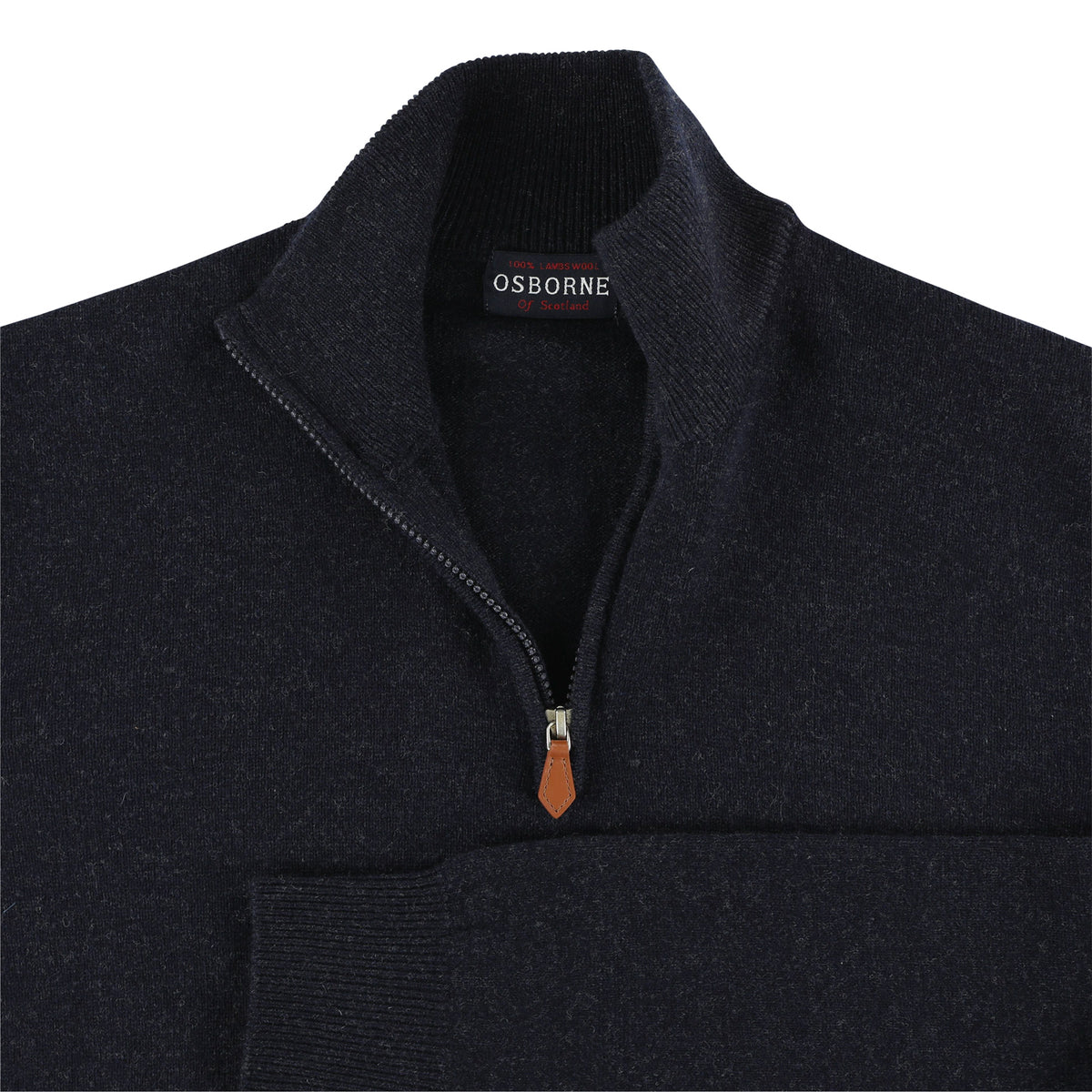"Lambswool zip neck ""Indigo Melange"""