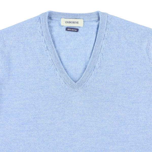 "Women merino V-neck ""Azur"""
