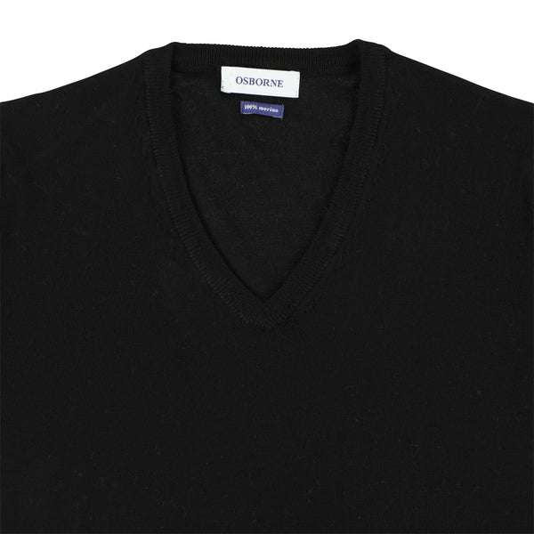 "Women merino V-neck ""Black"""