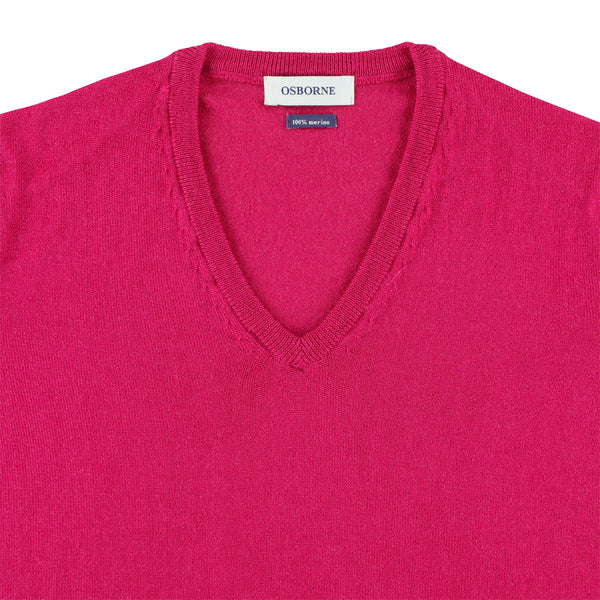 "Women merino V-neck ""Fuchsia"""
