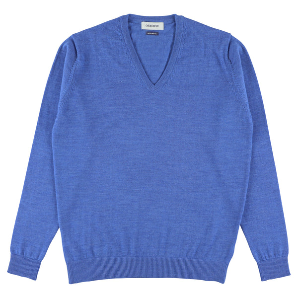 "Women merino V-neck ""Midblue"""