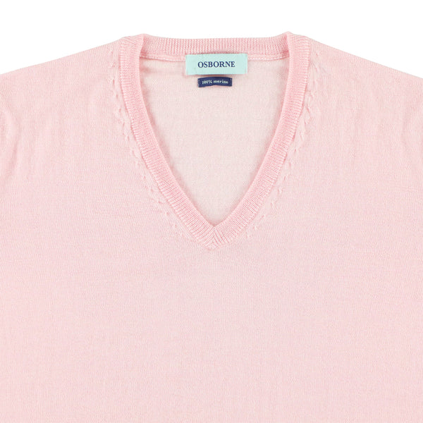 "Women merino V-neck ""Pink"""