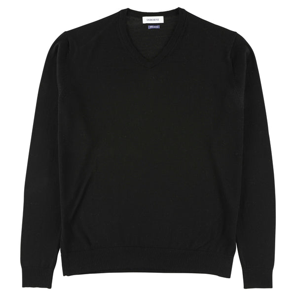 "Merino V-neck ""Black"""