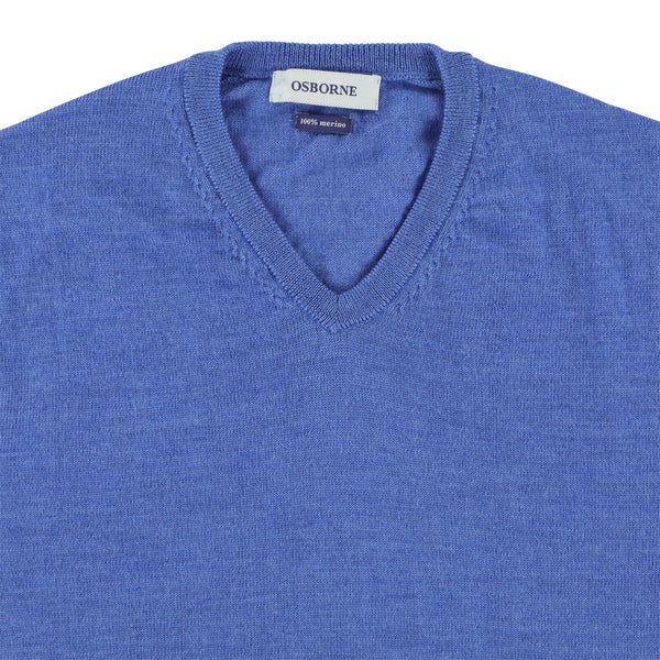 "Merino V-neck ""Mid blue"""