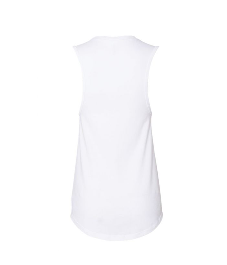 Women's Flowy 9Round Prism Muscle Tank (White)