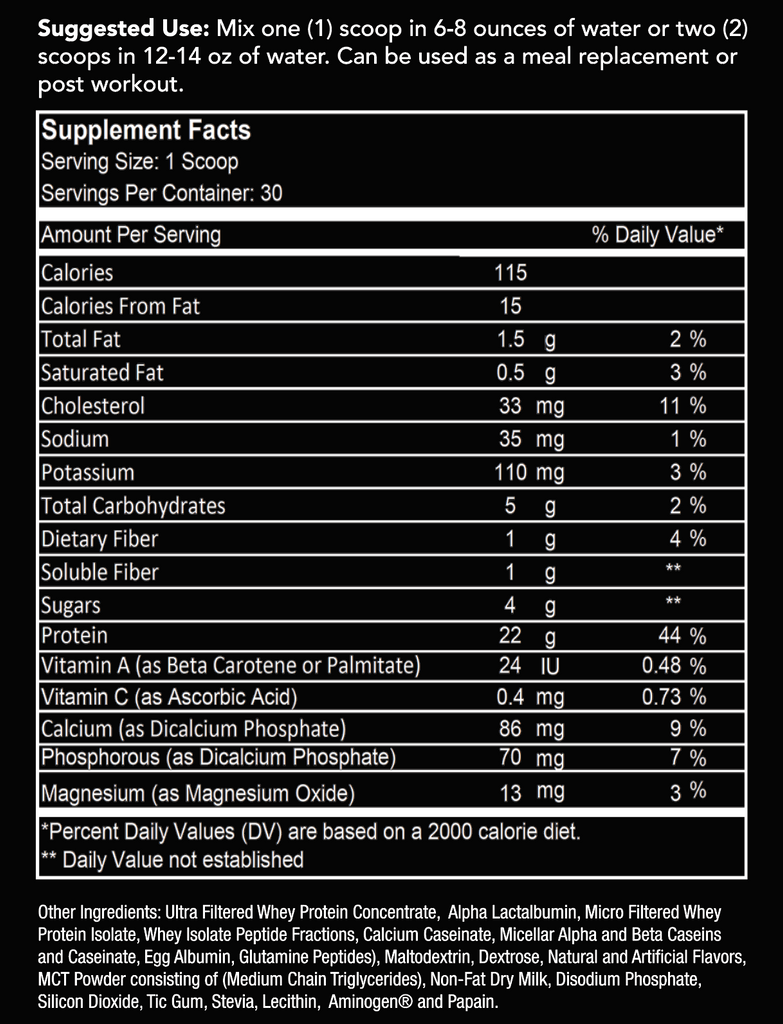9Round Protein Vanilla Ice Cream Nutrition Label