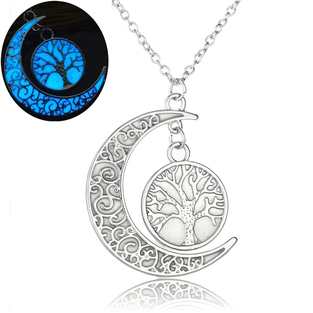Glow In The Dark Tree Of Life Crescent Moon Necklace