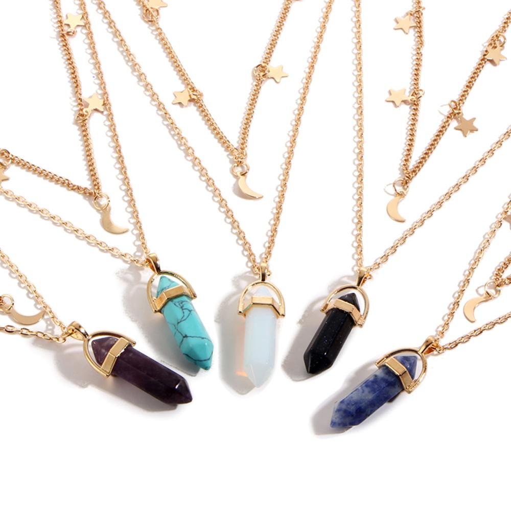 Healing Moon Crystal Gold Necklace