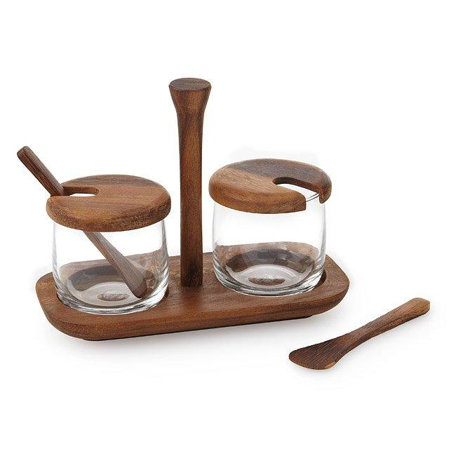 Natural Acacia Tray with Glass Jars