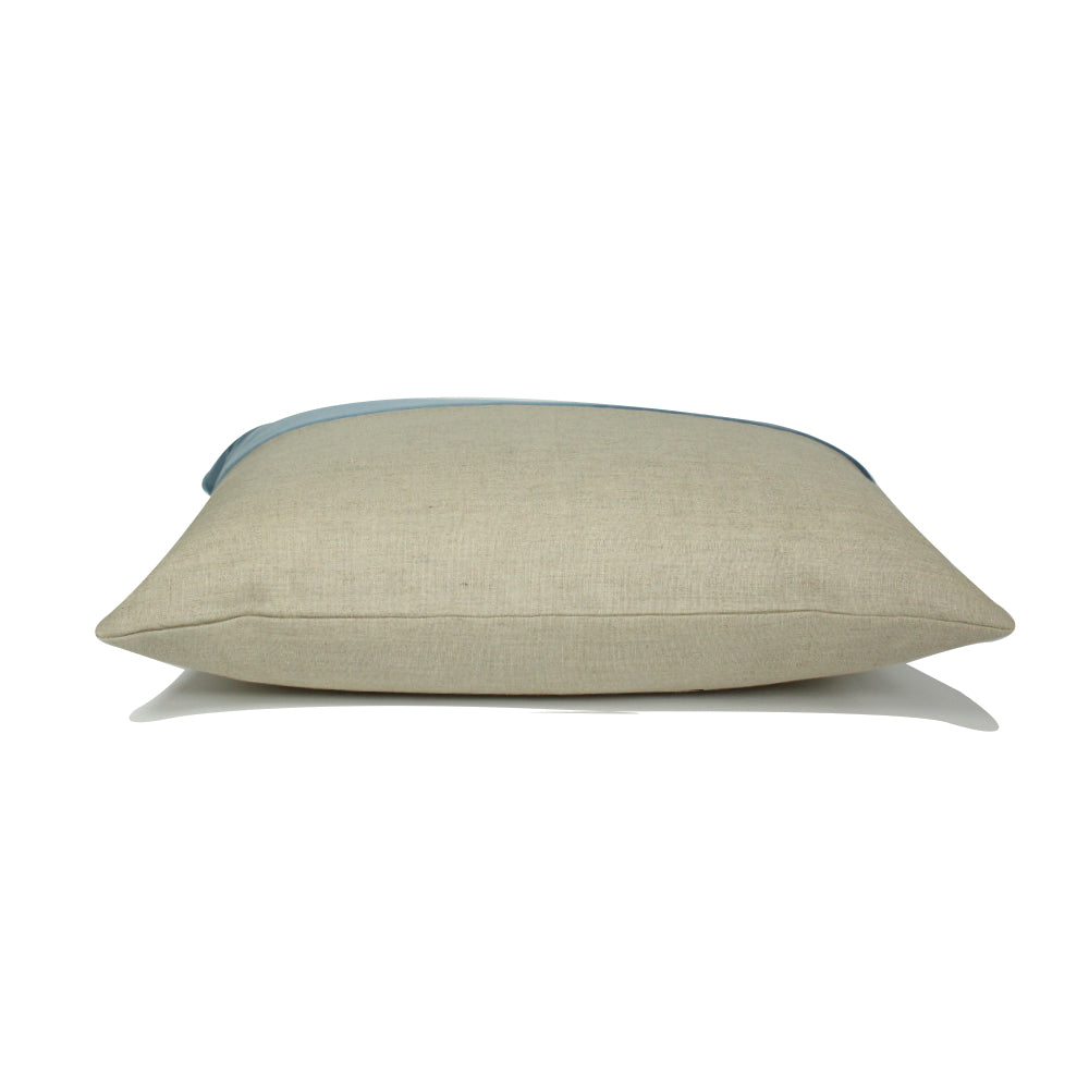 "Alma Pillow - Light Blue / Natural - 20"" x 14"""