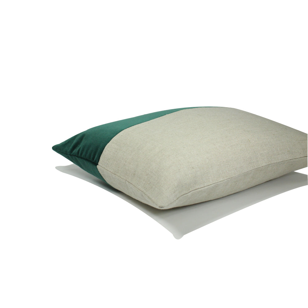 "Alma Pillow - Green - Natural - 20"" x 14"""