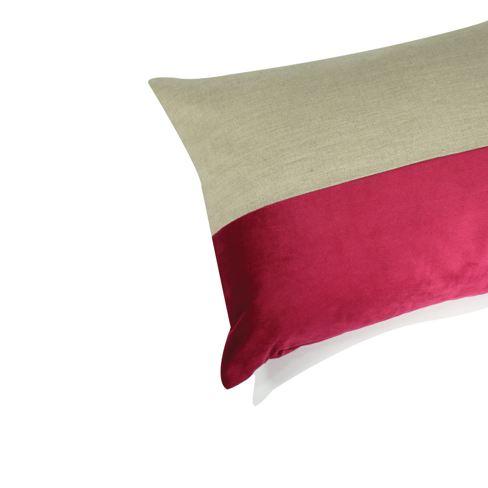 "Alma Pillow - Ruby Red / Natural - 20"" x 14"""