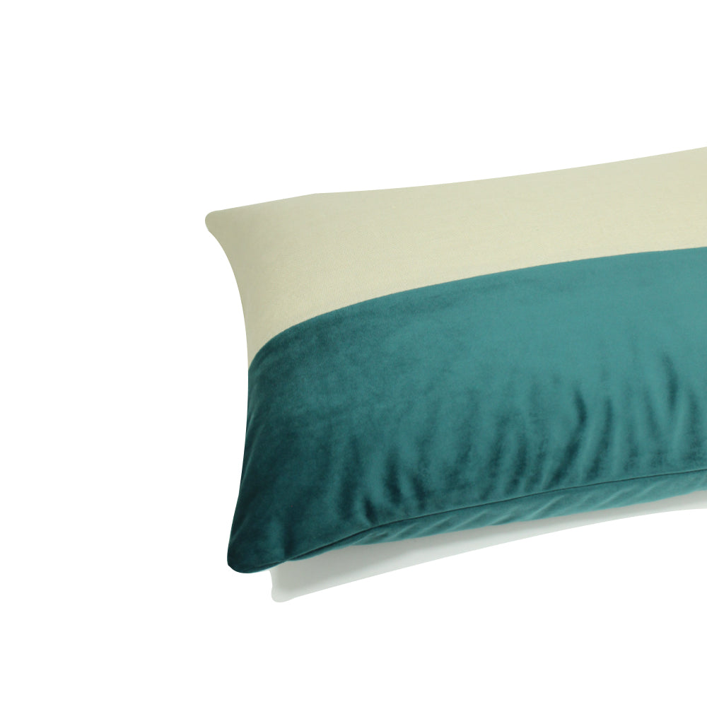"Alma Pillow - Teal / Cream - 20"" x 14"""