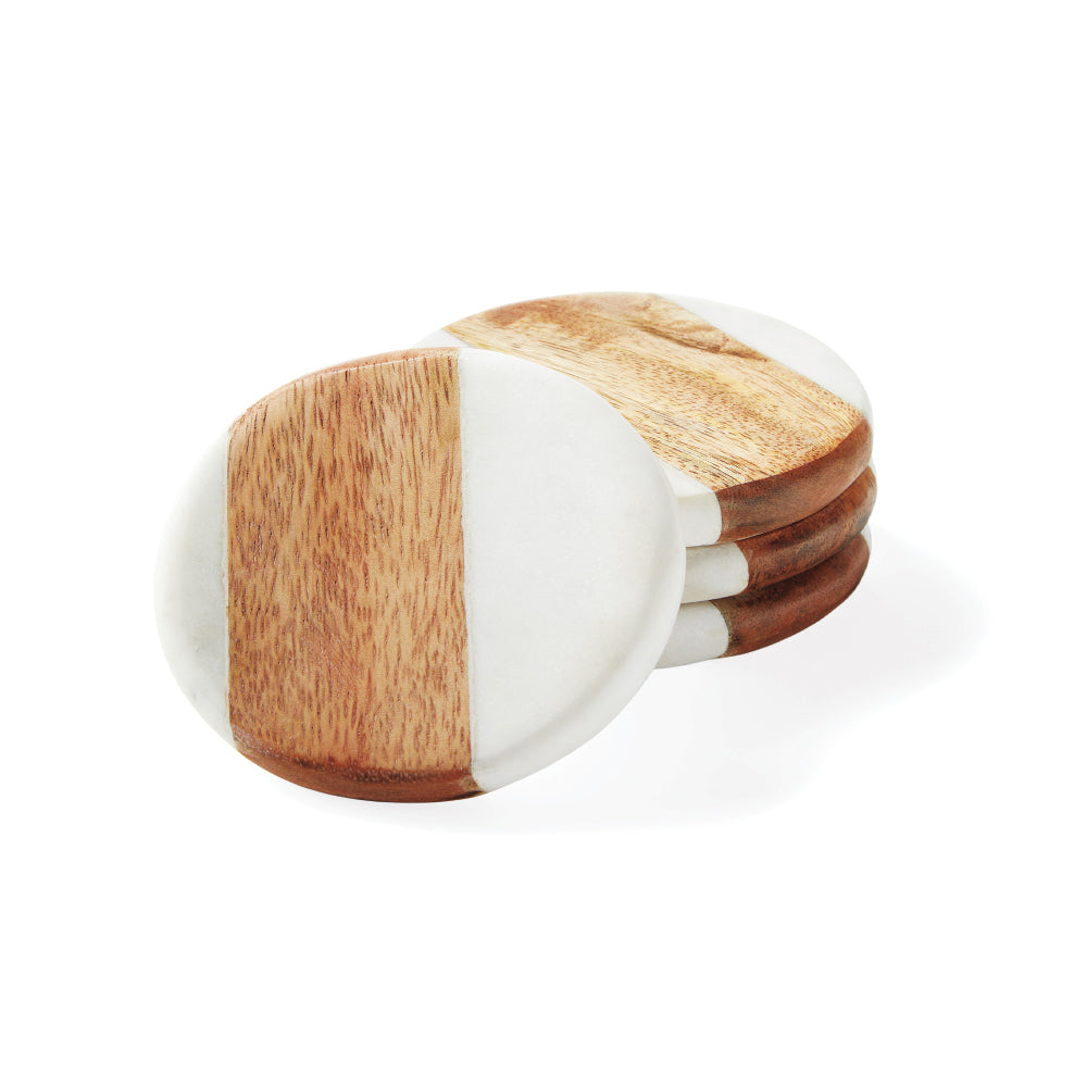 Round Coasters - White Marble & Wood