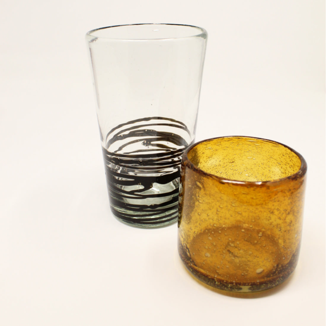 Pinar Handblown  Glass - Clear Black