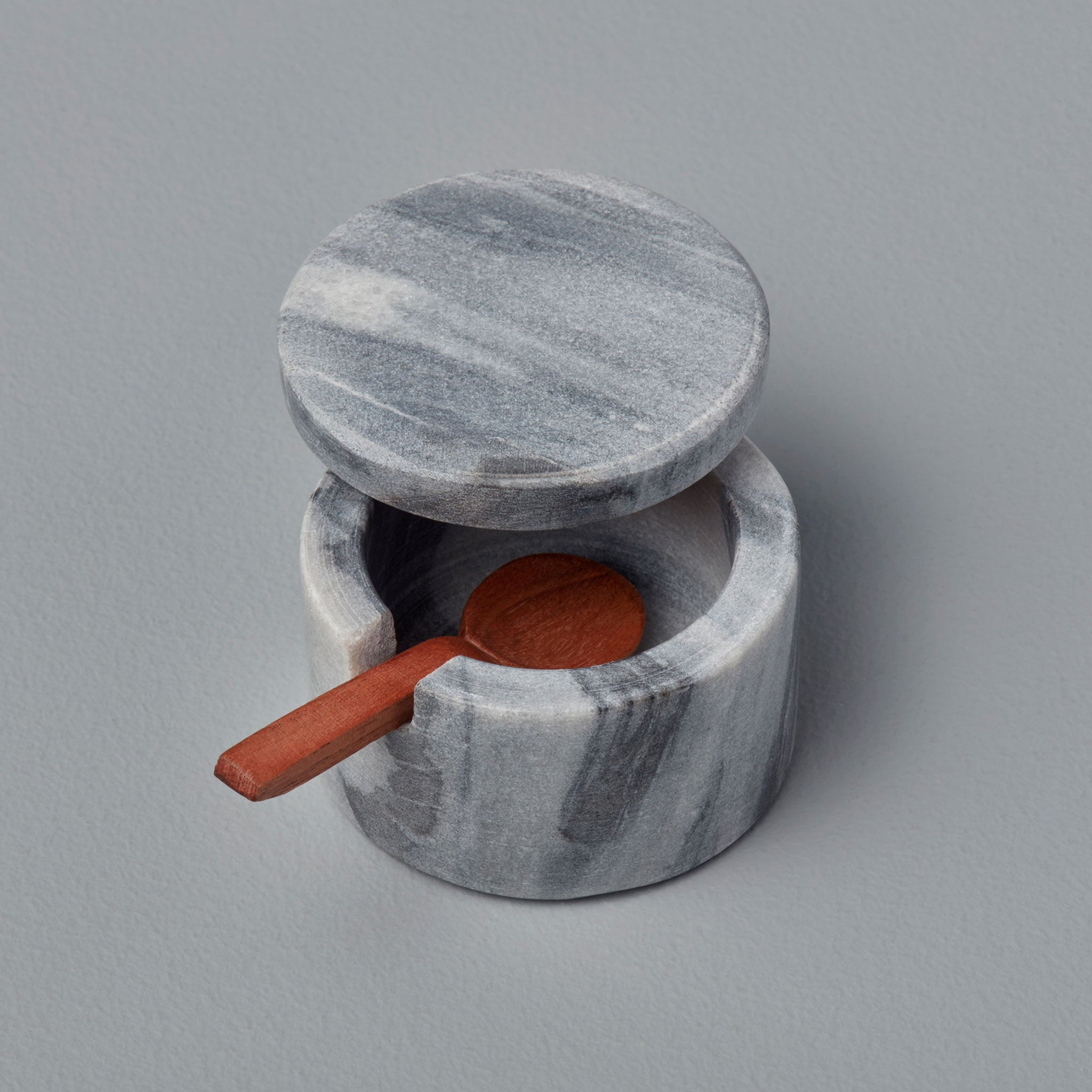 Lidded Cellar with Wood Spoon - Grey Marble