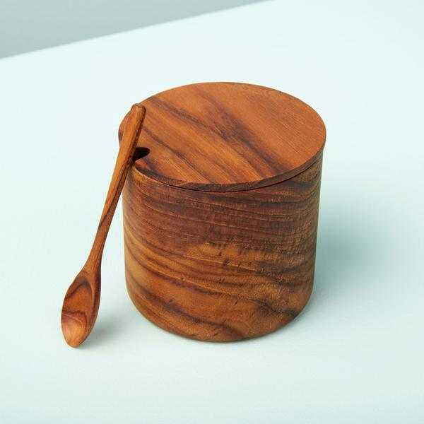 Teak Cellar with Notched Lid and Spoon