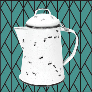 Porcelain Enamel Coffee Pot - Ants