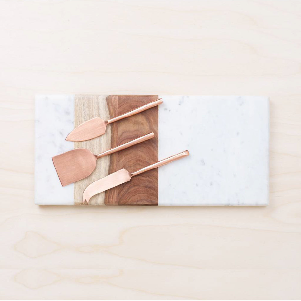 Rectangular Board - White Marble & Wood