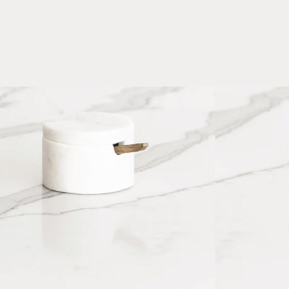 Lidded Cellar with Wood Spoon - White Marble