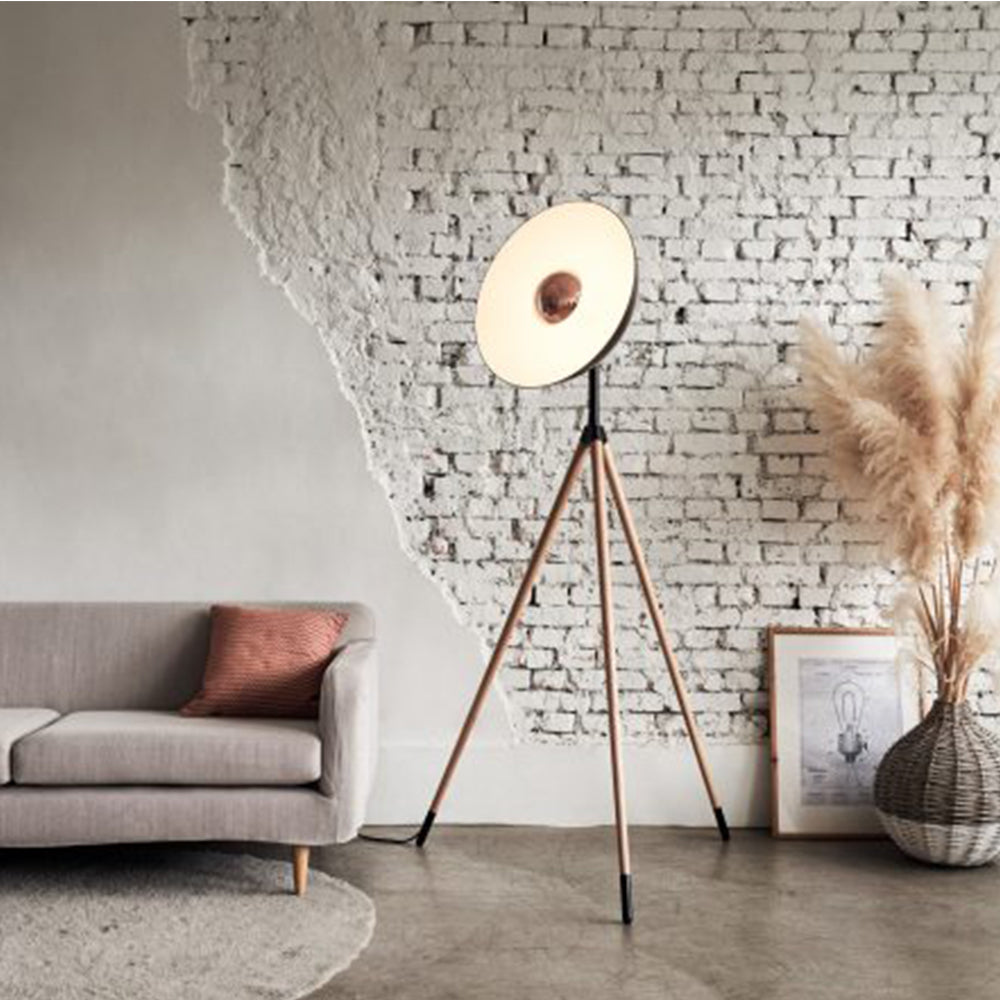 Apollo Floor Lamp - Matte Black + Wood