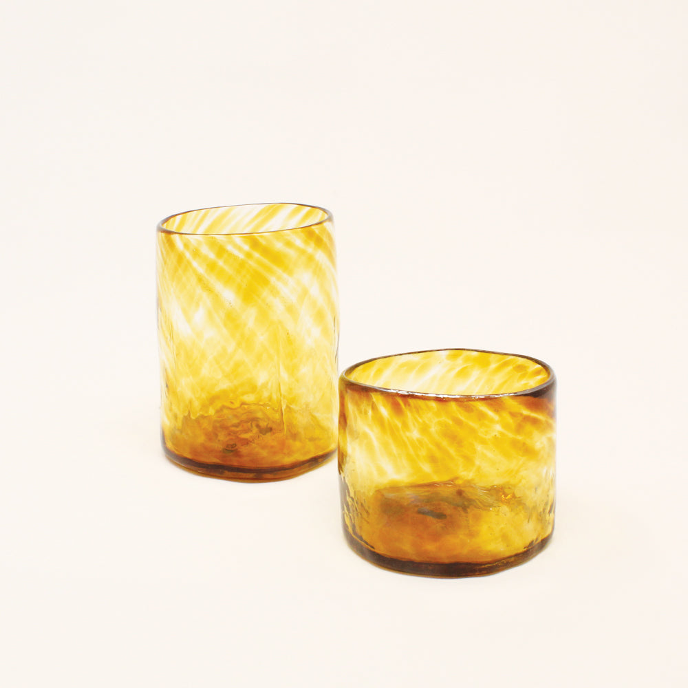Lena Handblown Small Glass - Amber