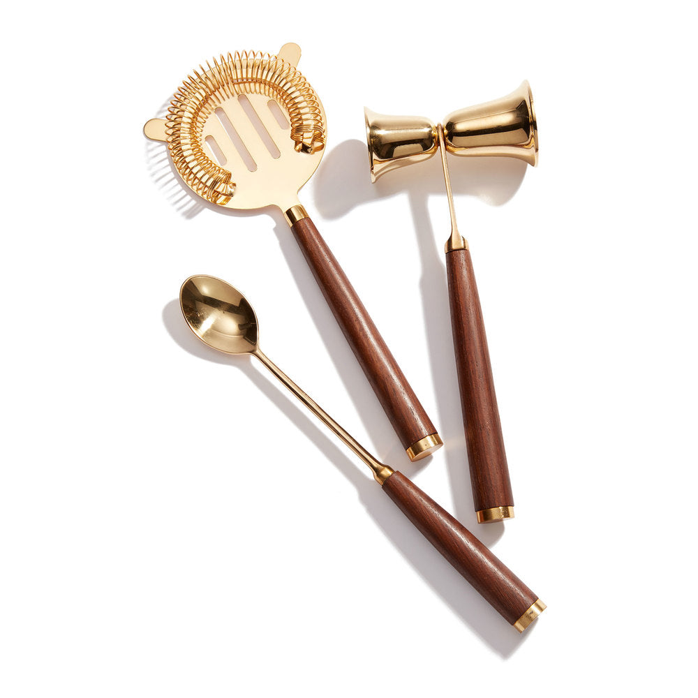 Bar Set  - Gold & Wood
