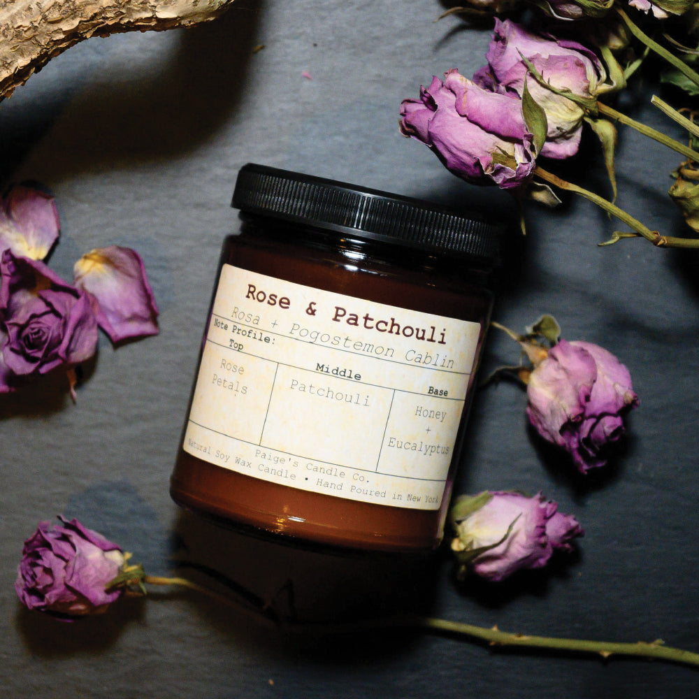 Rose & Patchouli - Vegan Soy Wax Candle