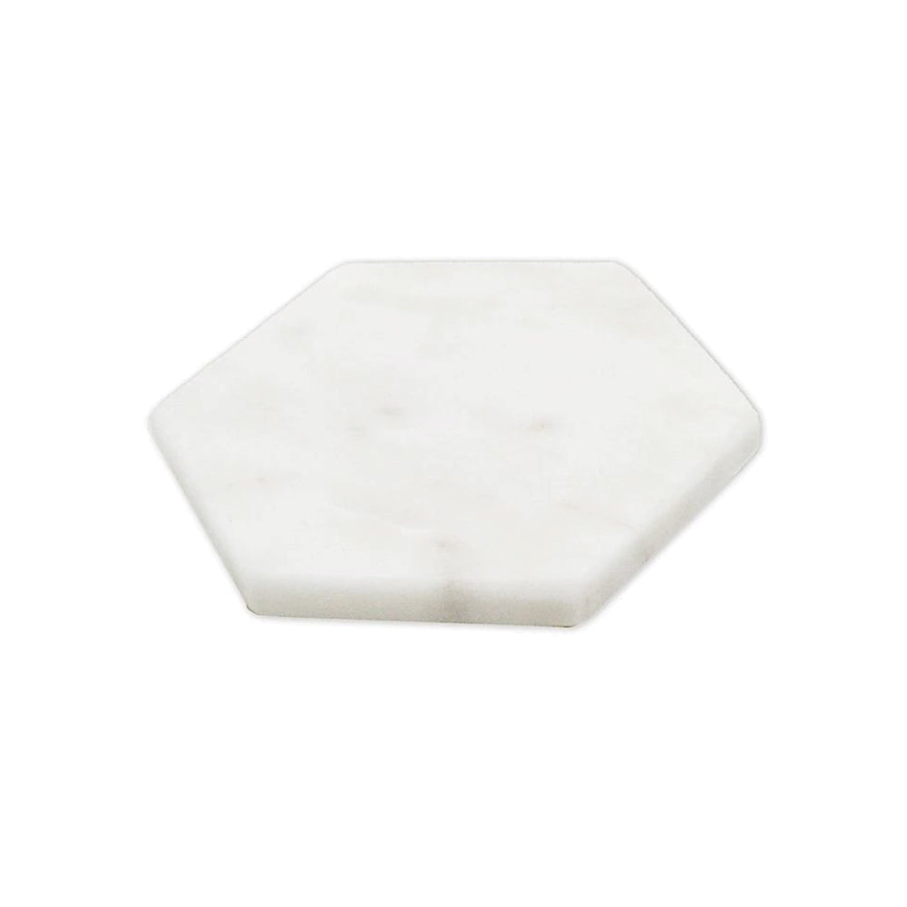 Hexagon Set of Coasters - White Marble