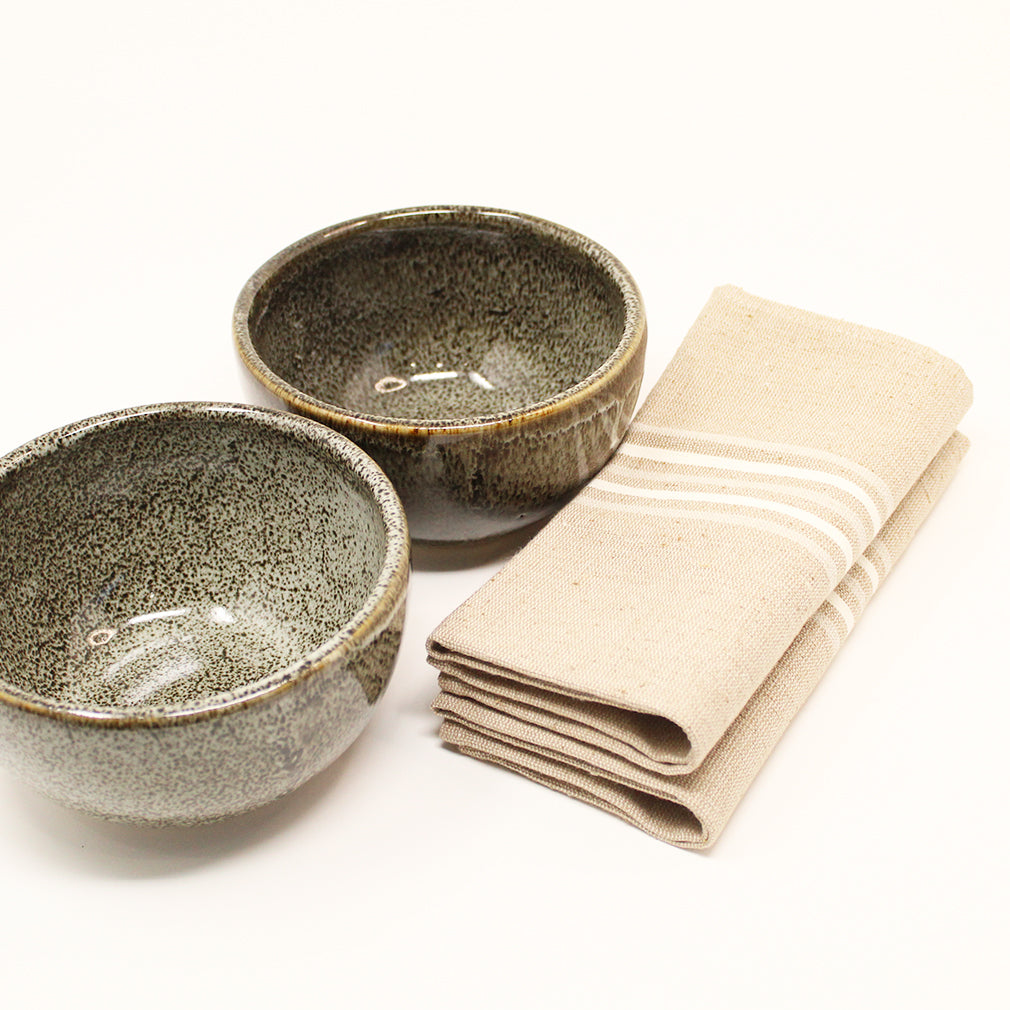 Dark Brown Blush Bowl and Napkins Set