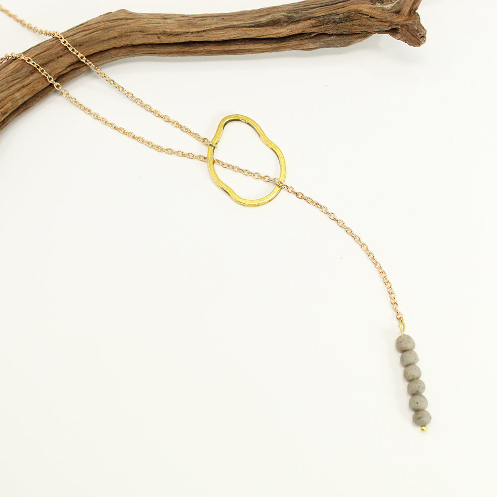 Stone and Bead Lariat Necklace - Gray