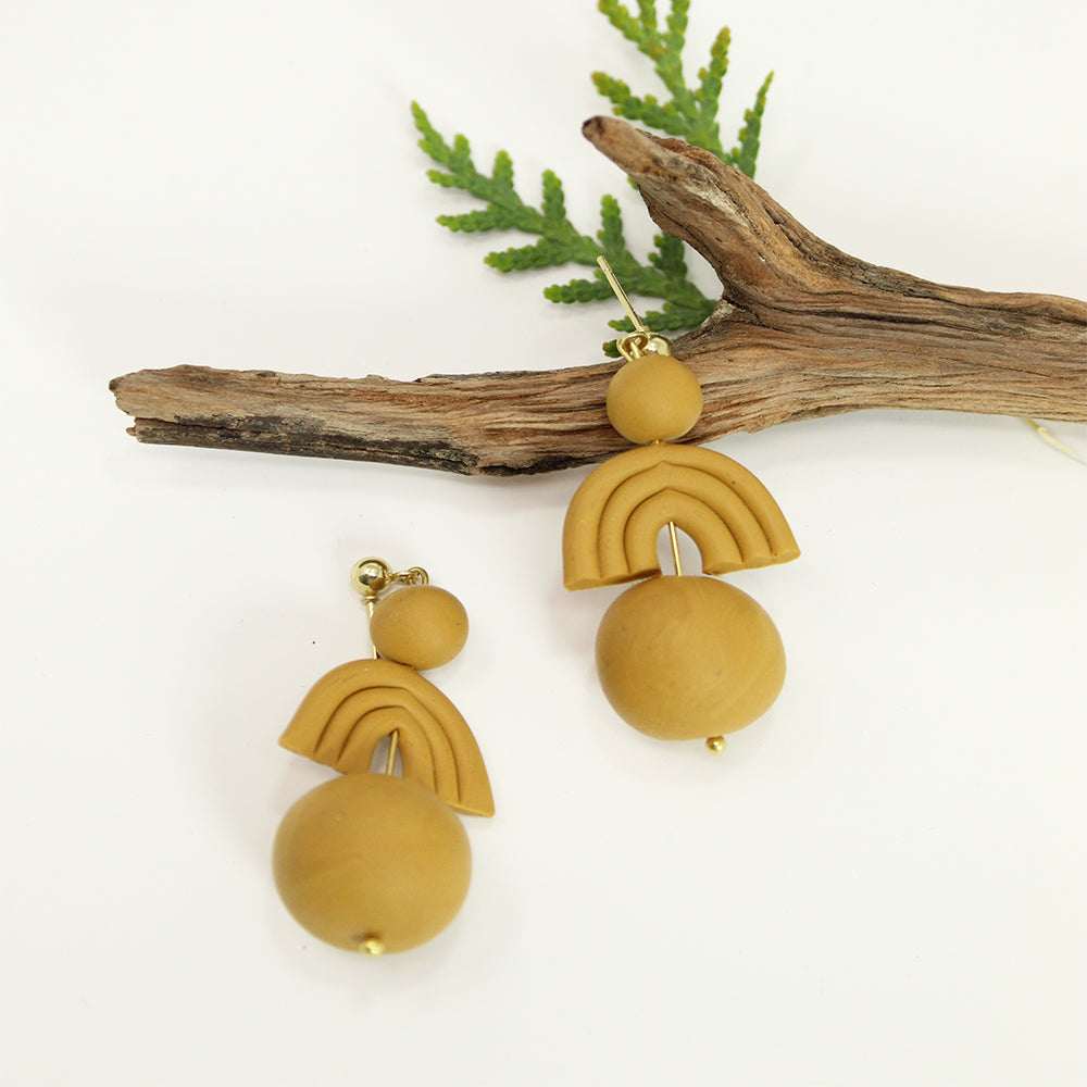 Clay Dangle Earrings - Yellow