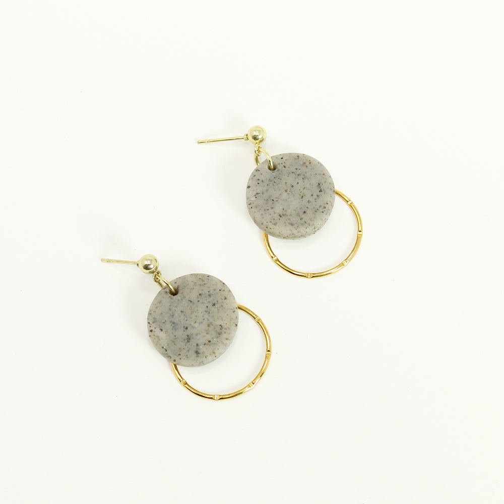 Clay and Gold Dangle Earrings - Gray