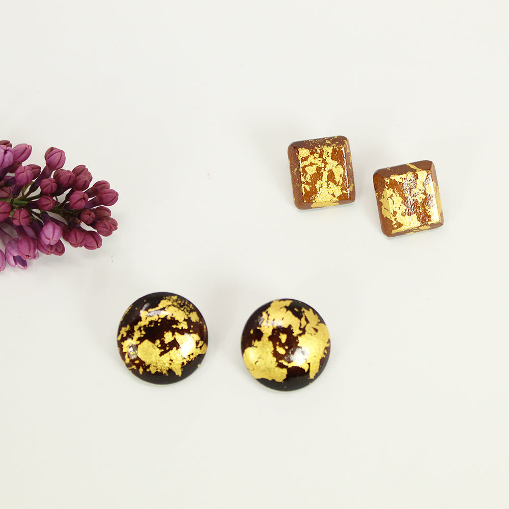 Gold Leaf Wood Stud Earrings - Square
