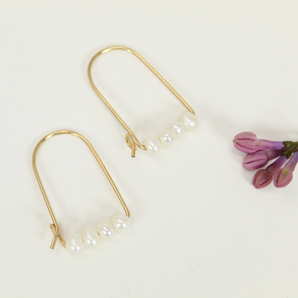 Small Hoop Earrings - Freshwater Pearls